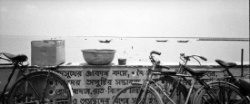 Bikes parked by the dock for the ferry to Sagar Island in the Gangetic Delta